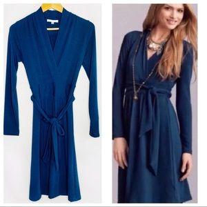 CAbi Chelsea 227 Dark Teal Faux Wrap Sweater Dress